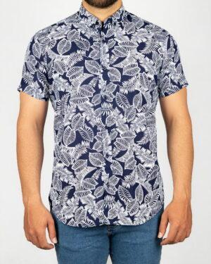 پیراهن مردانه طرح هاوایی- سرمه ای تیره- روبرو