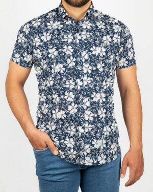 پیراهن مردانه طرح هاوایی- سرمه ای- روبرو