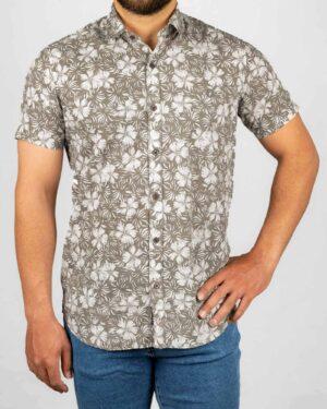 پیراهن مردانه طرح هاوایی- قهوه ای روشن- روبرو