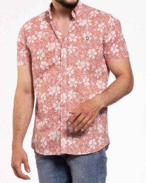 پیراهن مردانه طرح هاوایی- گلبهی- محیطی