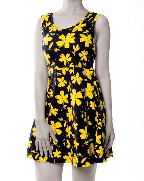 پیراهن نخی طرح دار زنانه- زرد (1)