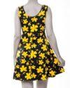پیراهن نخی طرح دار زنانه- زرد (3)