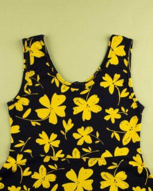 پیراهن نخی طرح دار زنانه- زرد (4)
