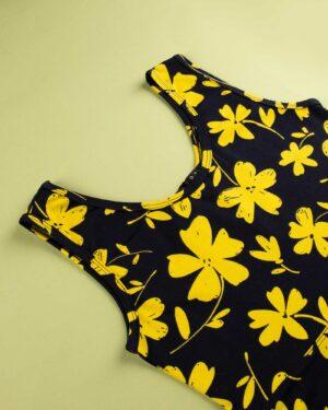 پیراهن نخی طرح دار زنانه- زرد (6)