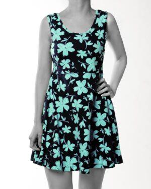 پیراهن نخی طرح دار زنانه- سبزآبی روشن (1)