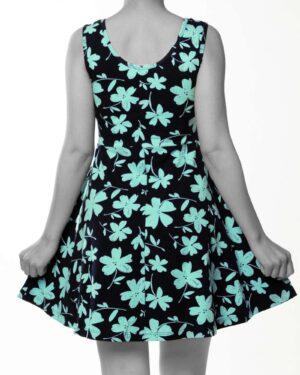پیراهن نخی طرح دار زنانه- سبزآبی روشن (3)