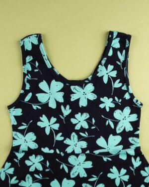 پیراهن نخی طرح دار زنانه- سبزآبی روشن (4)