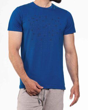 تیشرت طرح خط میخی مردانه- آبی نفتی- روبرو