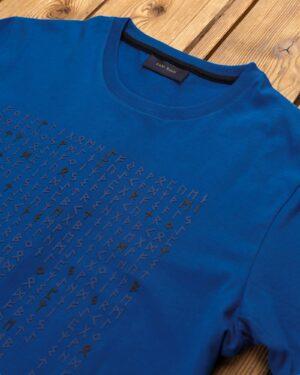 تیشرت طرح خط میخی مردانه- آبی نفتی- یقه