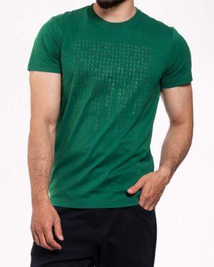 تیشرت طرح خط میخی مردانه- سبز تیره- روبرو