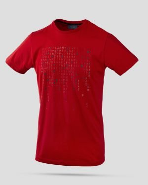 تیشرت طرح خط میخی مردانه- قرمز- روبرو