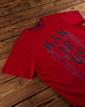 تیشرت طرح نوشته نخی- قرمز- یقه- محیطی