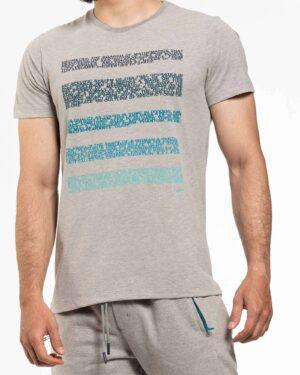 تیشرت مردانه 5 خط نوشته- ملانژ- روبرو