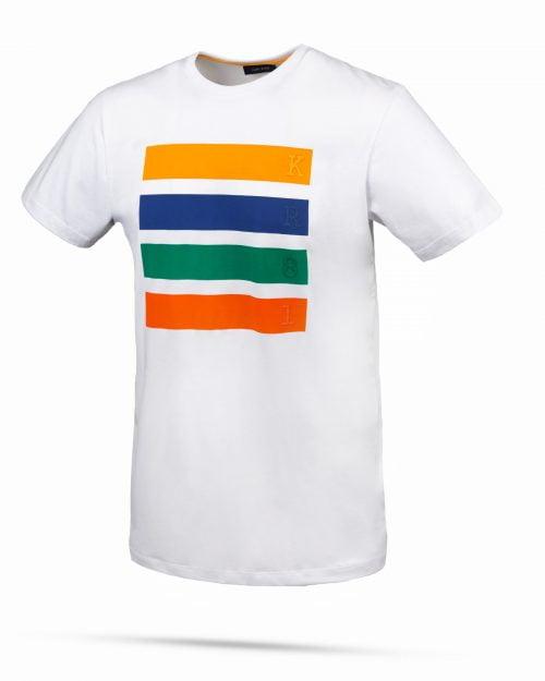 تیشرت نخی طرح دار 4 خط- سفید- نمای روبرو-محیطی جدید