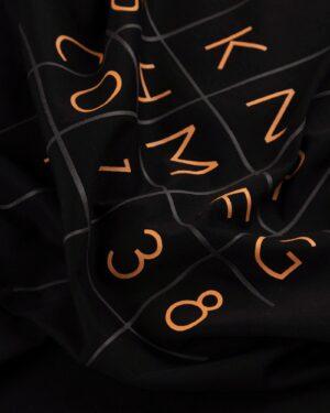 تیشرت نخی طرح عدد و حروف- مشکی-طرح
