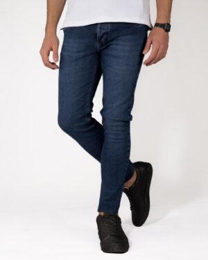 شلوار جین مردانه اسلیم فیت- آبی تیره- روبرو محیطی