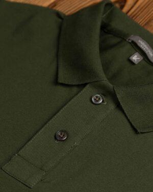 پولوشرت جودون آستین کوتاه- سبز ارتشی- یقه