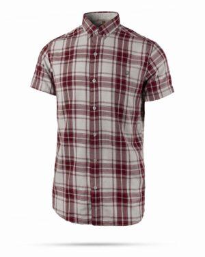 پیراهن آستین کوتاه مردانه چهارخانه- شرابی- روبرو سه رخ