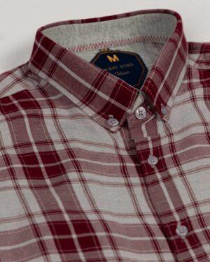 پیراهن آستین کوتاه مردانه چهارخانه- شرابی- یقه سه رخ