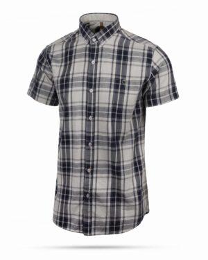 پیراهن آستین کوتاه مردانه چهارخانه- طوسی- روبرو سه رخ