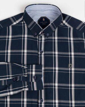 پیراهن مردانه چهارخانه آستین بلند-سرمه ای- یقه روبرو