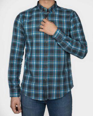 پیراهن چهارخانه آستین بلند آبی آسمانی- روبرو