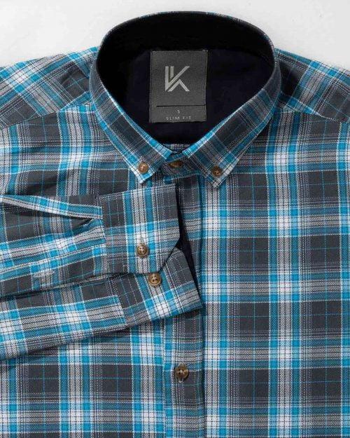 پیراهن چهارخانه آستین بلند آبی آسمانی- یقه محیطی