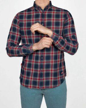 پیراهن چهارخانه مردانه اسپرت- سرمه ای- روبرو