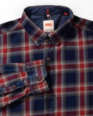 پیراهن چهارخانه مردانه اسپرت- سرمه ای-یقه روبرو
