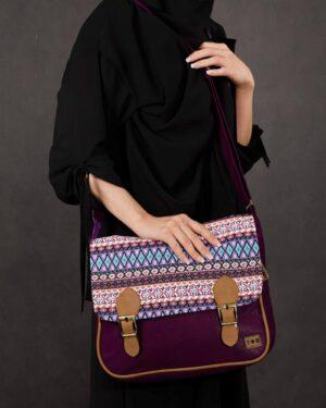 کیف دوشی بزرگ طرح سنتی- بنفش- محیطی