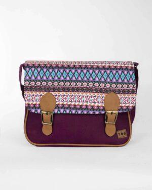 کیف دوشی بزرگ طرح سنتی- بنفش- نمای روبرو