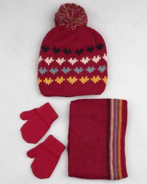 ست شال و کلاه 67001- قرمز- ست