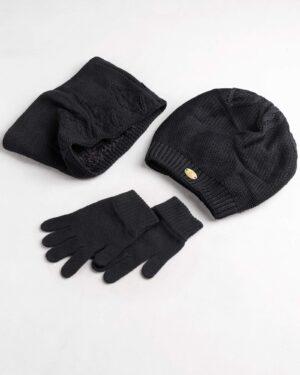 ست کلاه و شال و دستکش بچگانه- دودی- ست