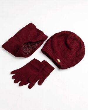 ست کلاه و شال و دستکش بچگانه- زرشکی- ست