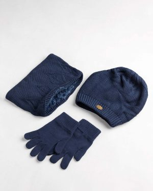 ست کلاه و شال و دستکش بچگانه- سرمه ای- ست