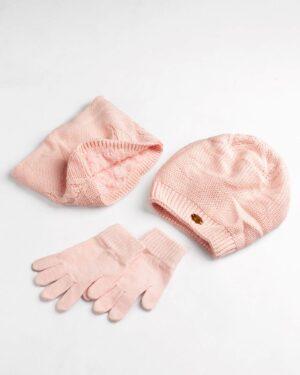 ست کلاه و شال و دستکش بچگانه- صورتی- ست