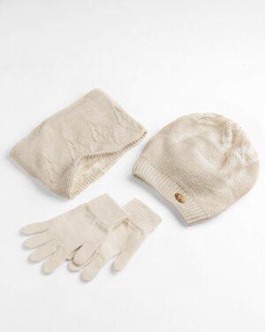 ست کلاه و شال و دستکش بچگانه- کرمی- ست