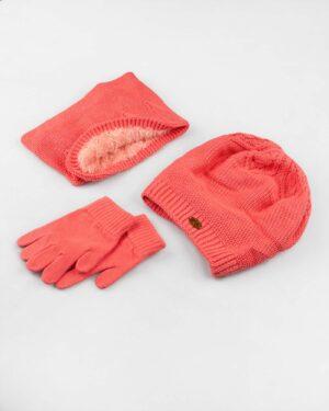 ست کلاه و شال و دستکش بچگانه- گلبهی- ست
