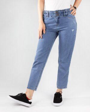 شلوار جین مام استایل- آبی روشن- روبرو