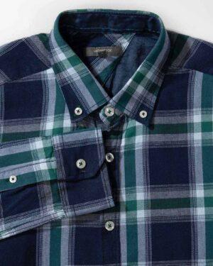 پیراهن مردانه چهارخانه- سبز- نمای روبرو