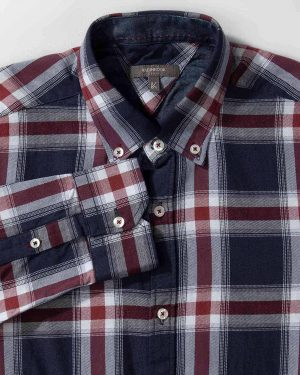 پیراهن مردانه چهارخانه- سرمه ای- نمای روبرو
