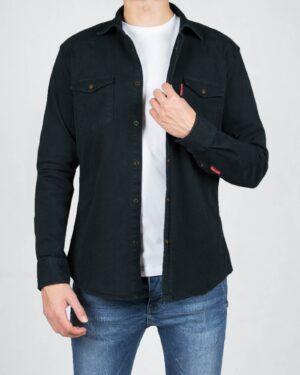 پیراهن کتان ساده مردانه- دودی- روبرو