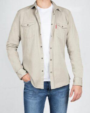 پیراهن کتان ساده مردانه- شیری- روبرو