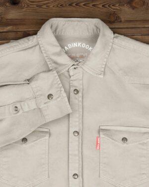 پیراهن کتان ساده مردانه- شیری- نمای روبرو
