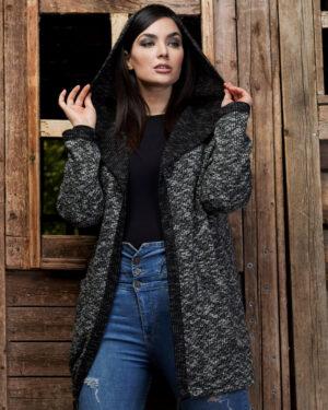 ژاکت بافتنی- مشکی- نمای روبرو