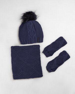 ست شال و کلاه و دستپوش 15035- آبی نفتی (1)