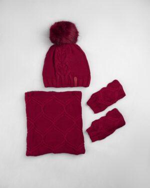 ست شال و کلاه و دستپوش 15035- قرمز (1)