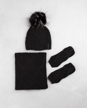 ست شال و کلاه و دستپوش 15035-مشکی (1)