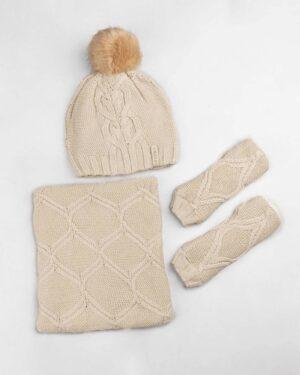 ست شال و کلاه و دستپوش 15035- کرمی (2)