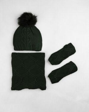 ست شال و کلاه و دستپوش 15035- یشمی (1)